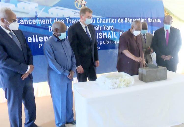 The Djiboutian president launched the start of the construction of a ship repair yard.